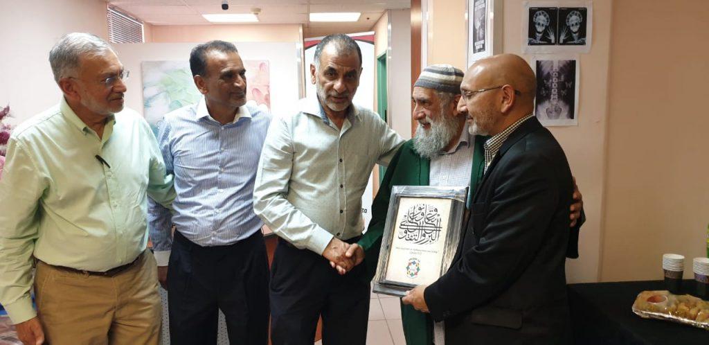 From left to right: Awqaf SA CEO: Zeinoul Abedien Cajee, Farouk Limalia (Awqaf SA), Akhtar Thoken (Awqaf SA), Sultan Bahu Spiritual Head: Shaykh Saeed Ali Chopdat and Sedick Isaacs (Awqaf SA)